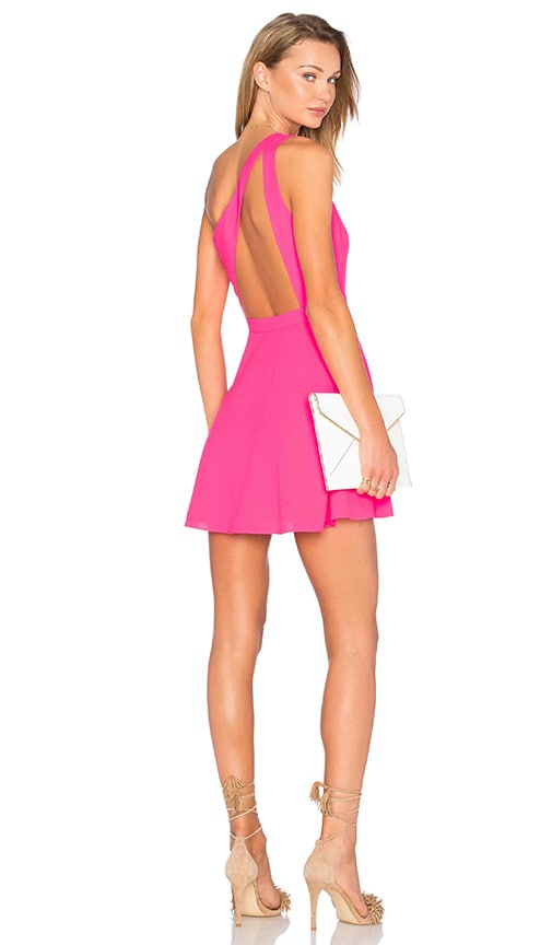 NBD X Naven Twins Zip Me Up One Shoulder Dress in Fucshia