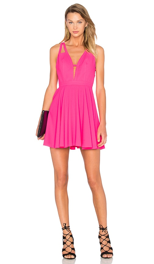 NBD X Naven Twins Let It Happen Fit & Flare Dress in Fuchsia
