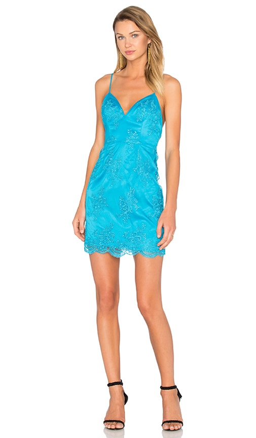 NBD Fine Lines Lace Dress in Turquoise