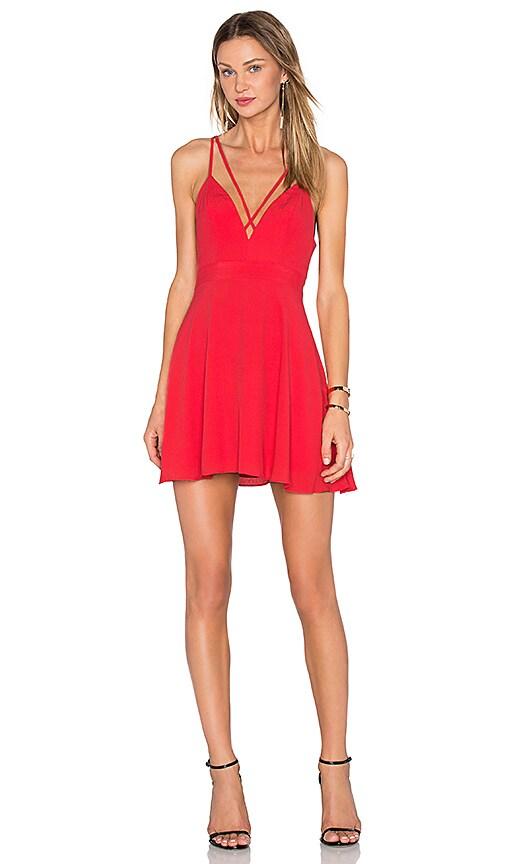 NBD X Naven Twins Bet U Wish Fit & Flare Dress in Cherry