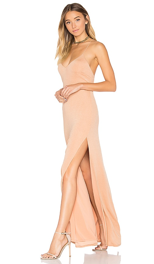 NBD x REVOLVE In The Deep Maxi Dress in Tan