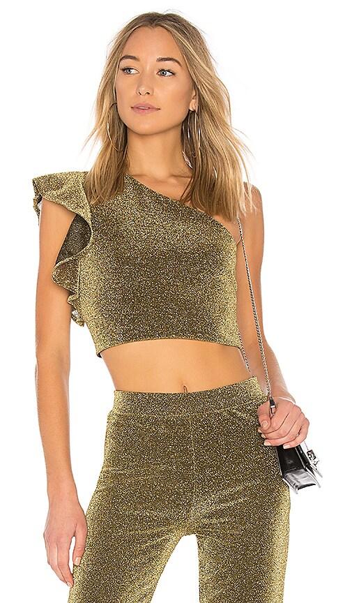 NBD x REVOLVE Brooke Ruffle Top in Metallic Gold