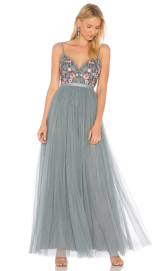 Needle & Thread Whisper Maxi Dress in Gray