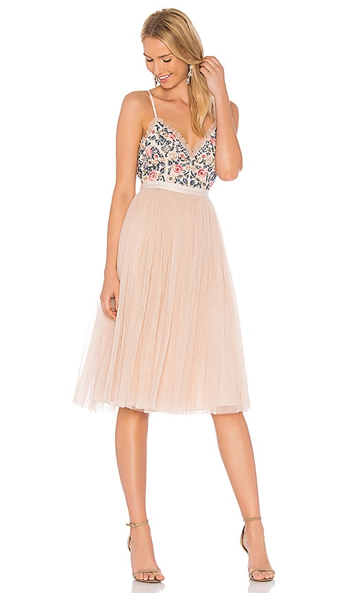 Needle & Thread Whisper Midi Dress in Pink