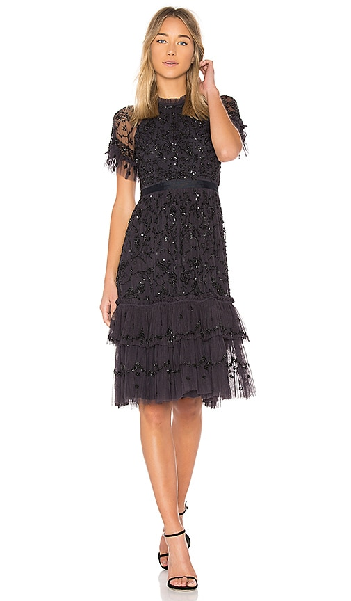 Needle & Thread Constellation Lace Dress in Black