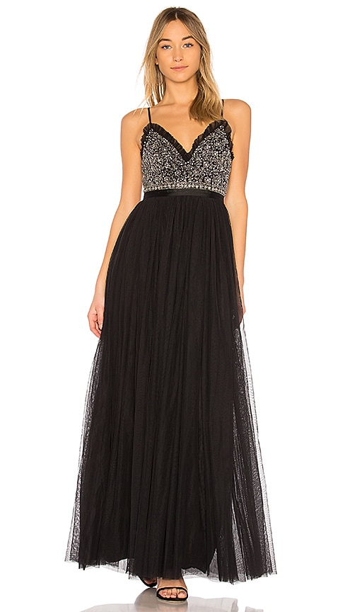 Needle & Thread Andromeda Maxi Dress in Black