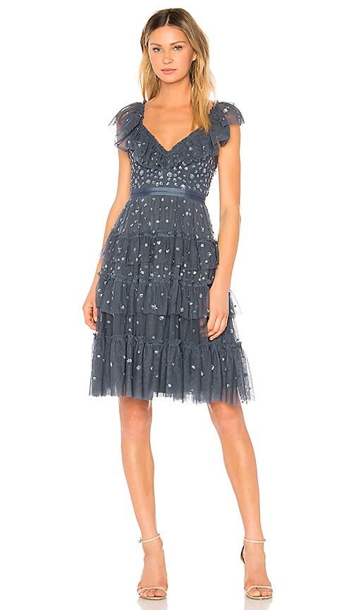 Needle & Thread Sunburst Midi Dress in Blue