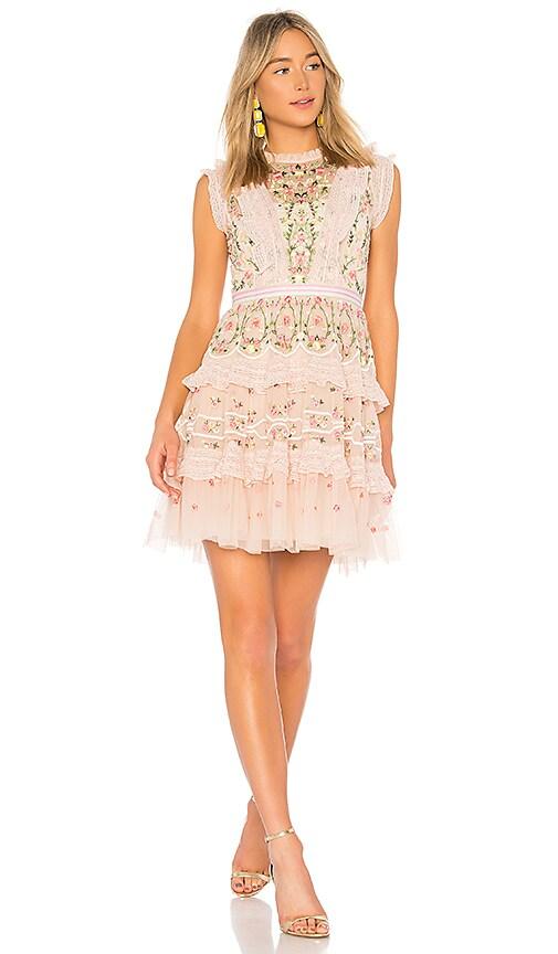 Needle & Thread Lattice Rose Mini Dress in Pink