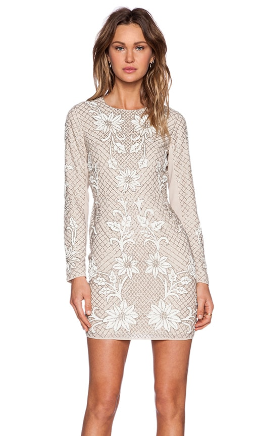 Needle & Thread Floral Mesh Sequin Dress in Dust Rose