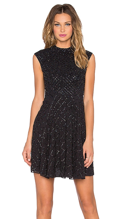 Needle & Thread Circle Mesh Dress in Black