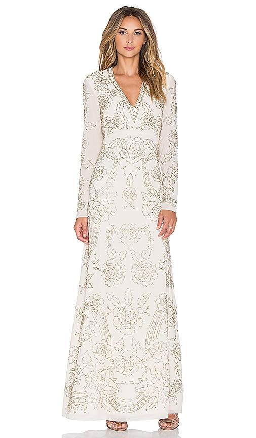Needle & Thread Lace Imprint Maxi Dress in Cream & Silver