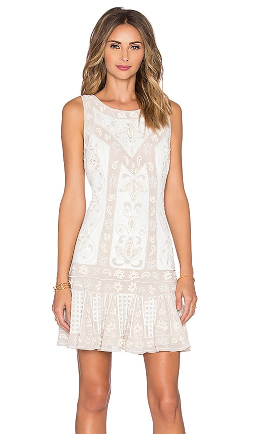 Needle & Thread Lace Mini Dress in Beige