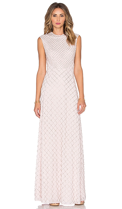 Needle & Thread Circle Mesh Maxi Dress in Bleach Pink