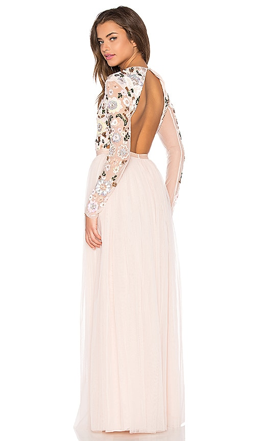 Floral Cluster Embellished Gown
