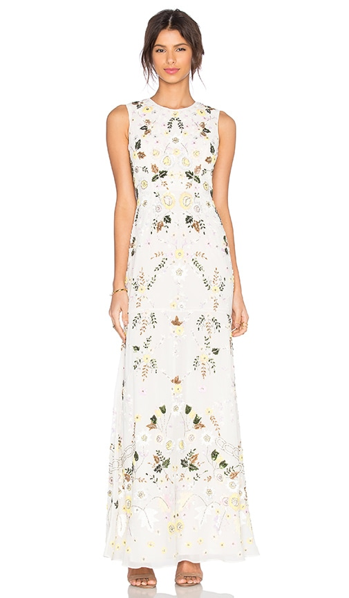 Needle & Thread Sunflower Embellished Gown in White