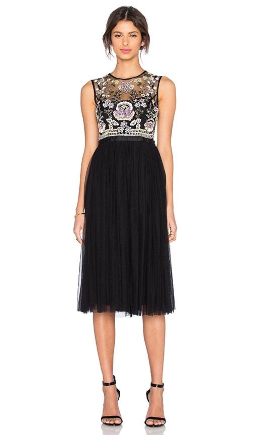 Needle & Thread Foliage Cluster Embellished Dress in Black