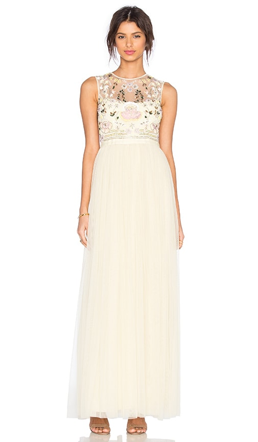 Needle & Thread Foliage Cluster Embellished Maxi Dress in Lemon