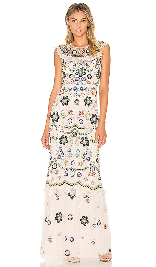 Needle & Thread Butterfly Garden Maxi Dress in Pink