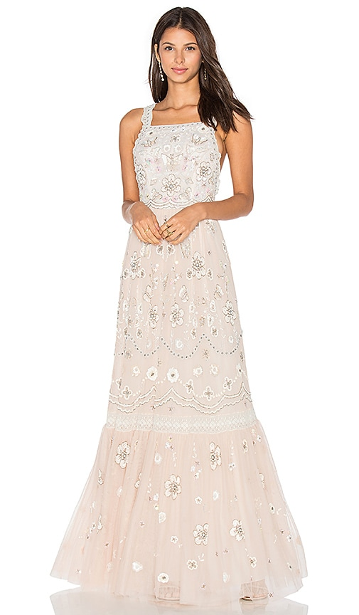 Needle & Thread Embellished Bib Gown in Beige
