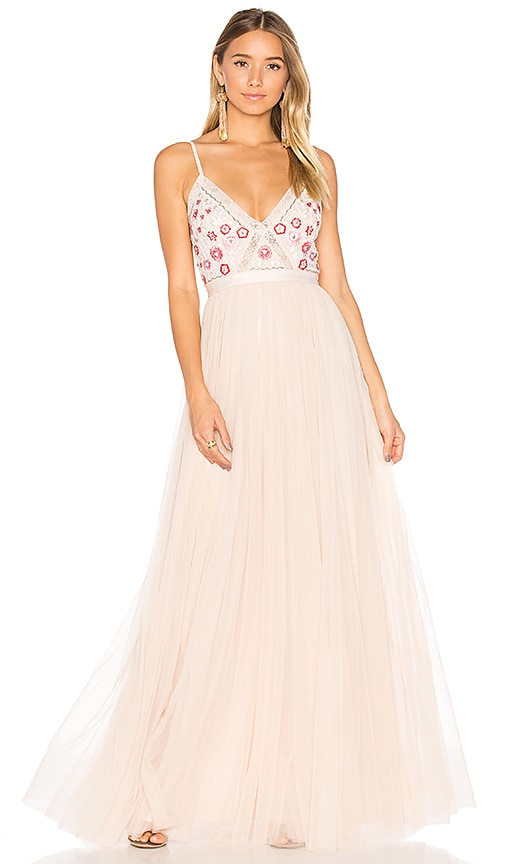 Needle & Thread Prairie Embroidery Maxi Dress in Pink