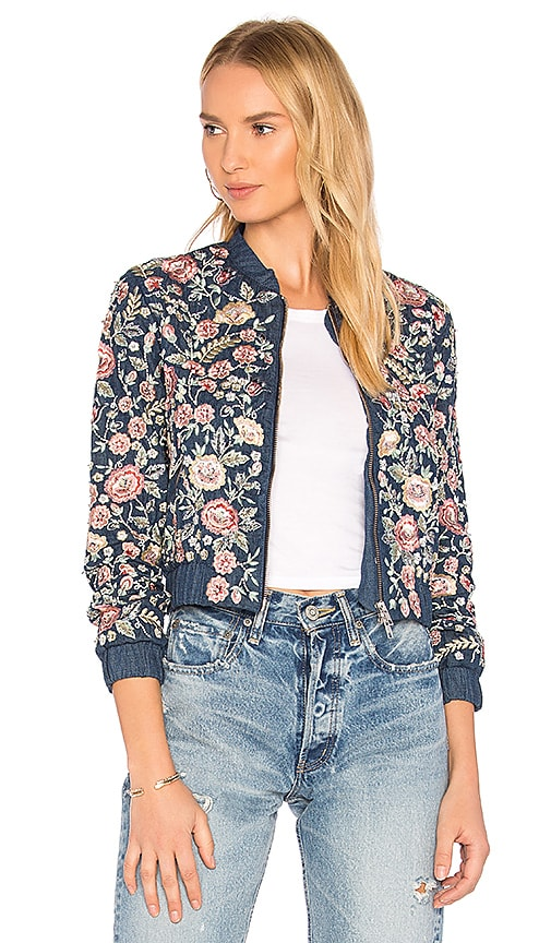 Needle & Thread Sundaze Denim Bomber in Blue
