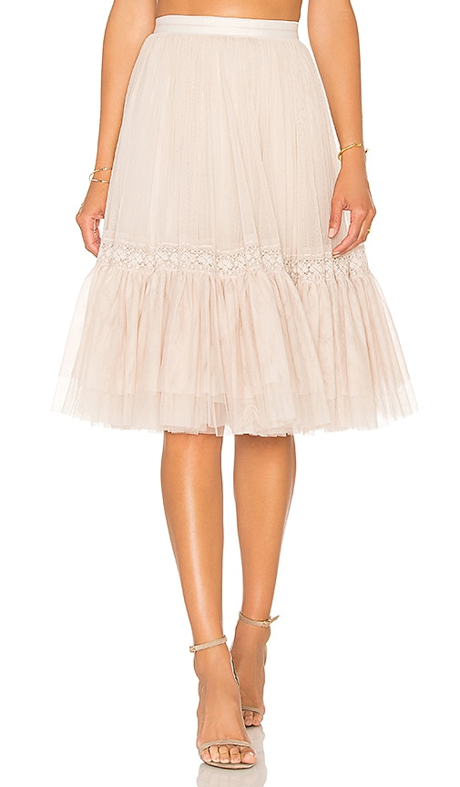 Needle & Thread Lace Tulle Skirt in Rose Beige