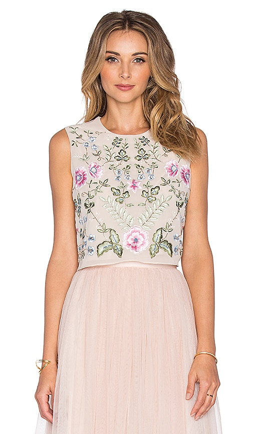 Needle & Thread Spring Embroidery Top in Rose Beige