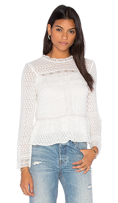 Needle & Thread Paneled Lace Top in White