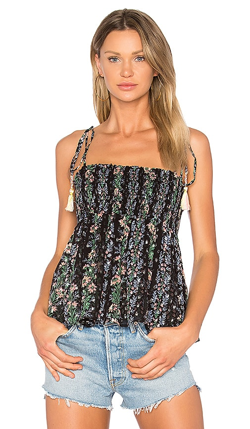 Needle & Thread Floral Stripe Tie Top in Black