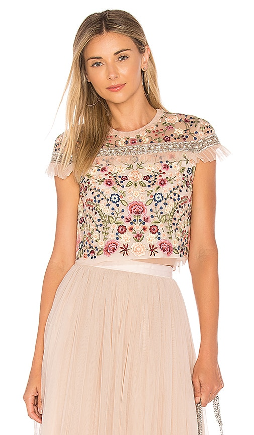 Needle & Thread Floral Jet Top in Pink