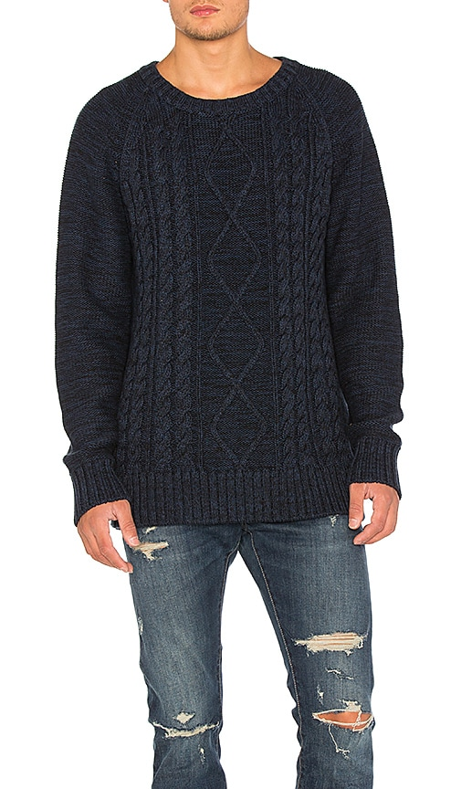 NEUW Cable Knit Sweater in Navy