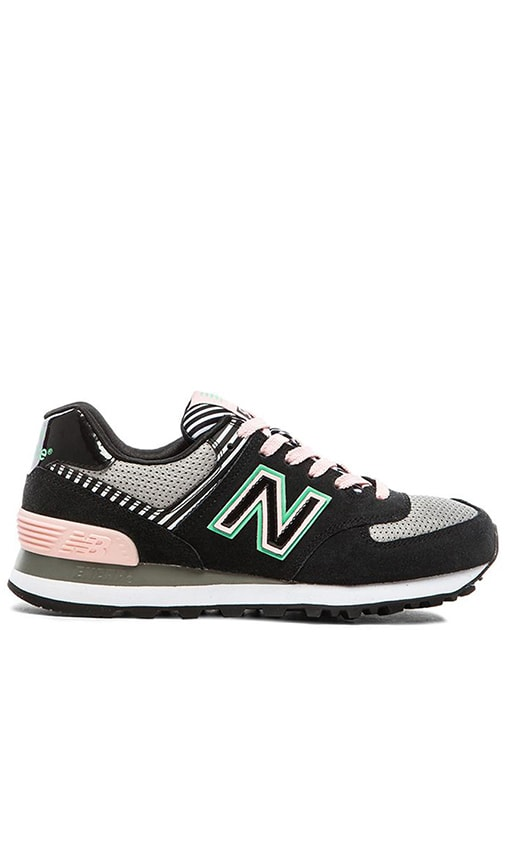New Balance Palm Springs Collection Sneaker in Black & Pink | REVOLVE