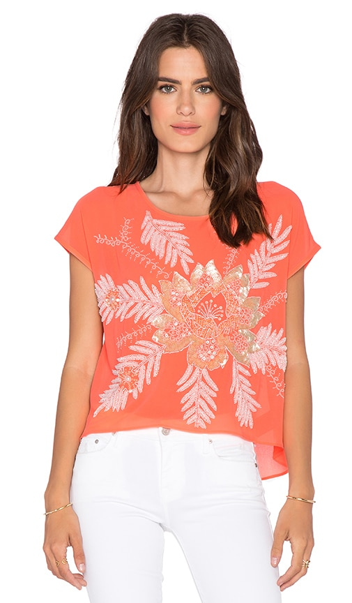 New Friends Colony Short Sleeve Crop Top in Coral