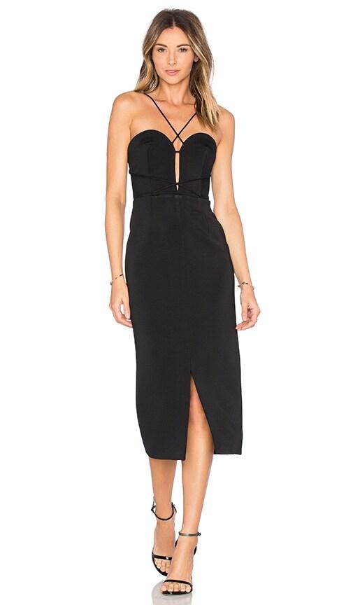 NICHOLAS Bandage Plunge Rouleau Dress in Black