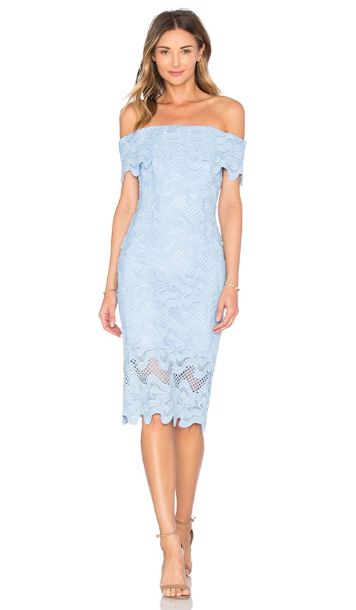 NICHOLAS Squiggle Lace Off Shoulder Dress in Blue