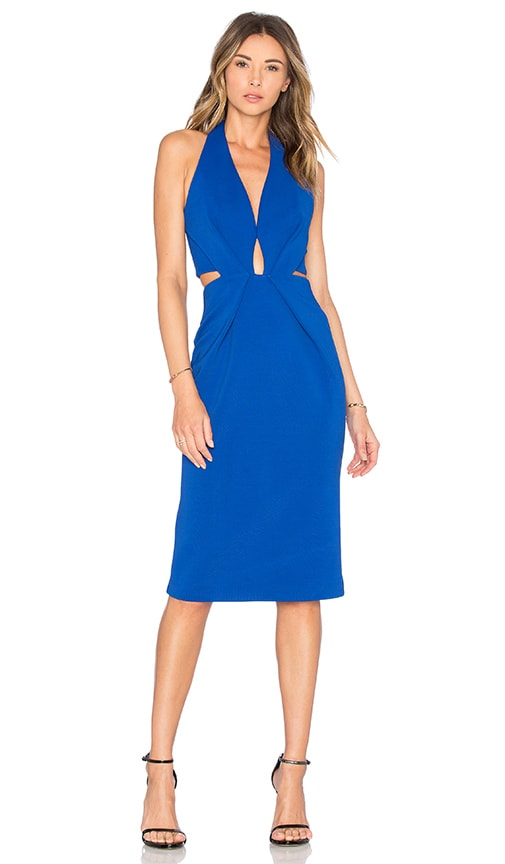 NICHOLAS Bandage Halter Plunge Dress in Blue