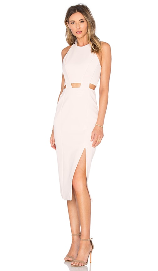 NICHOLAS Bandage Waist Cut Out Dress in Blush