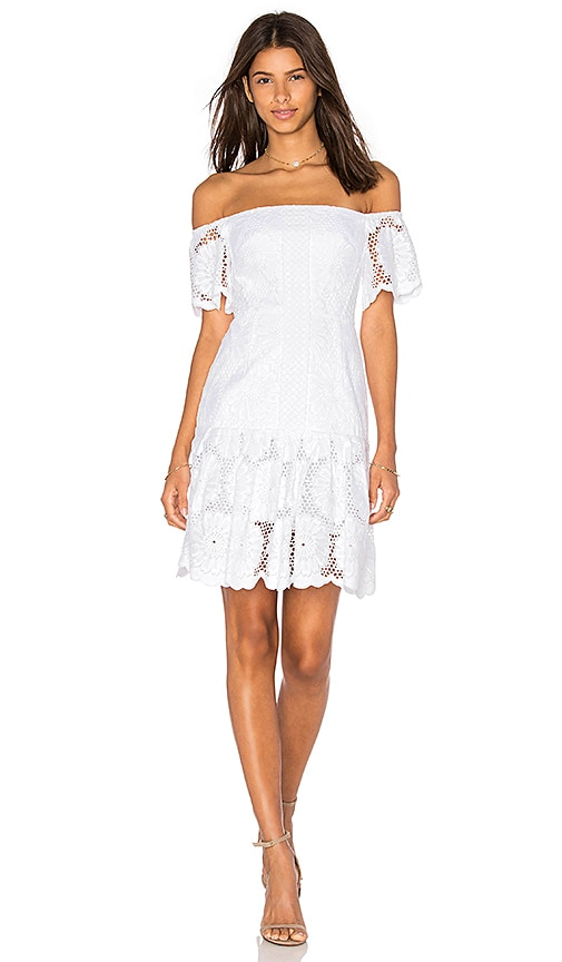 n / nicholas Sunflower Lace Off Shoulder Dress in White