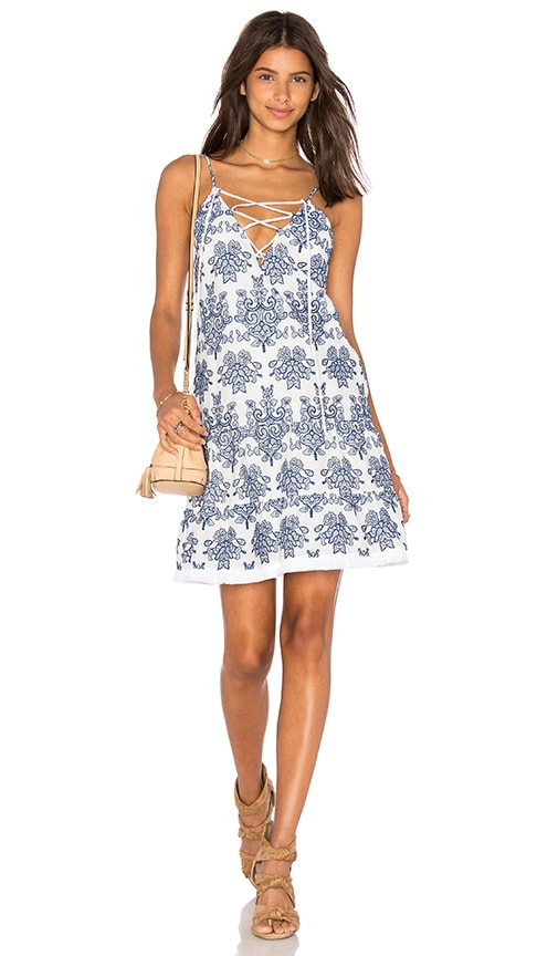 Embroidery Lace Up Dress
