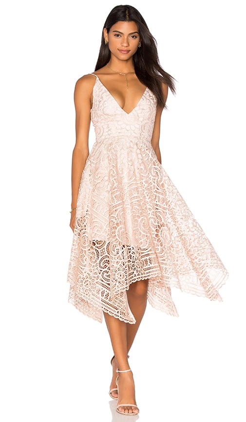 NICHOLAS Geo Floral Lace Ball Dress in Pink