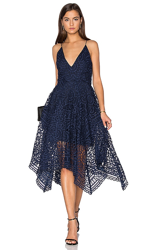 NICHOLAS Geo Floral Lace Ball Dress in Navy