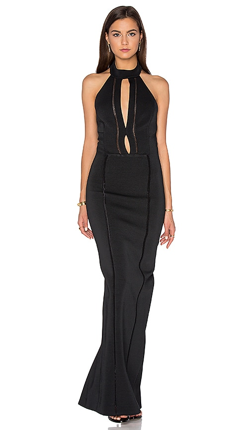 NICHOLAS Bandage Plunge Gown Dress in Black