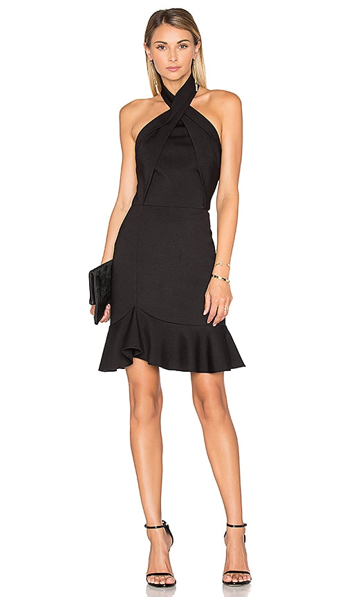 NICHOLAS Asymmetric Ruffle Dress in Black