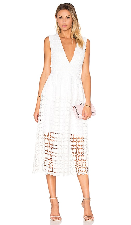 Mosaic Deep V Lace Dress