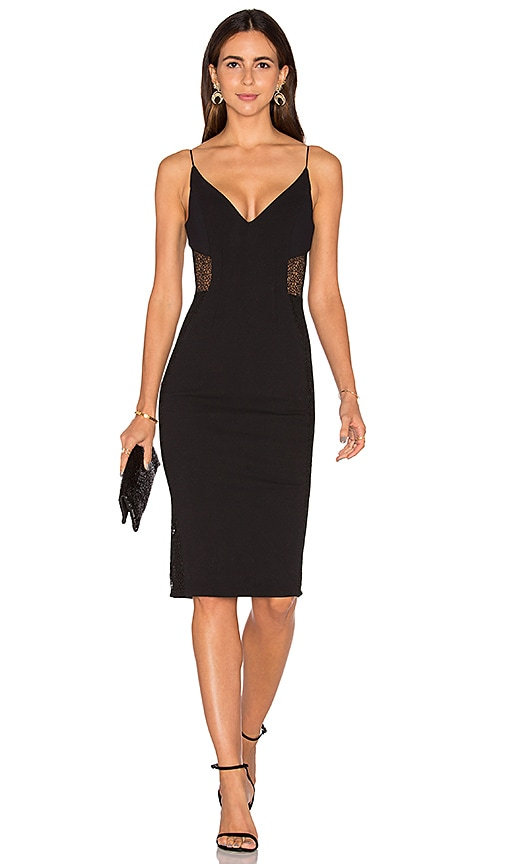 NICHOLAS Crepe Insert Midi Dress in Black