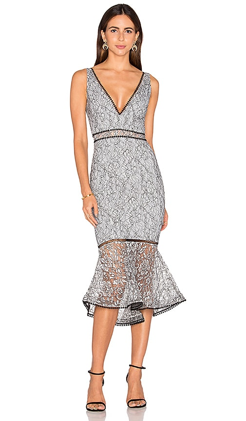 NICHOLAS French Lace Plunge Dress in Gray