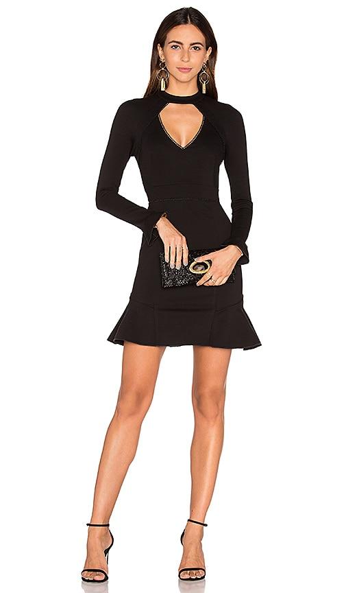 n / nicholas Long Sleeve Diamond Cut Out Ponti Dress in Black