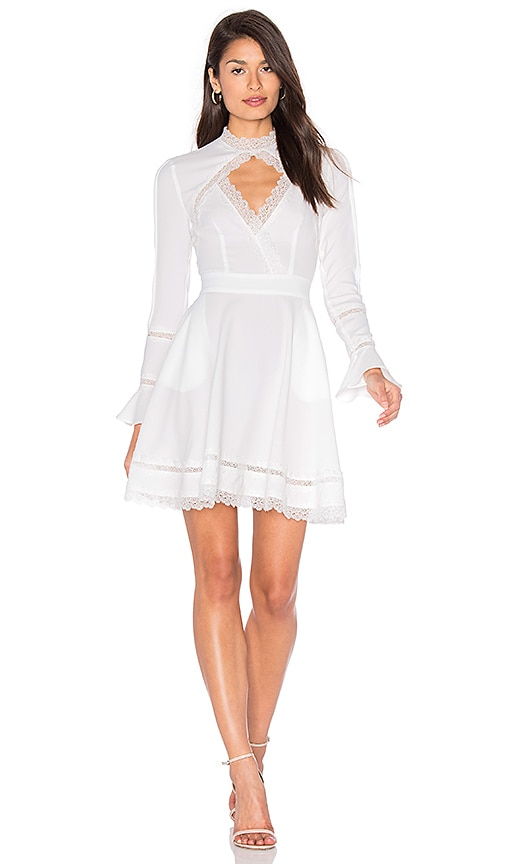 n / nicholas Lace Insert Keyhole Front Dress in White