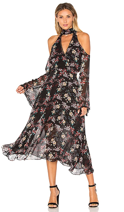 NICHOLAS Floral Chain Neck Wrap Front Dress in Black