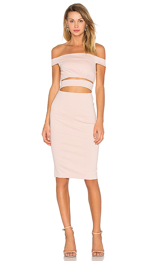 n / nicholas Ponti Off Shoulder Strap Dress in Blush